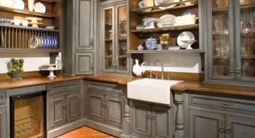 Admirable Retro Look Grey Kitchen Cabinet Inspiration