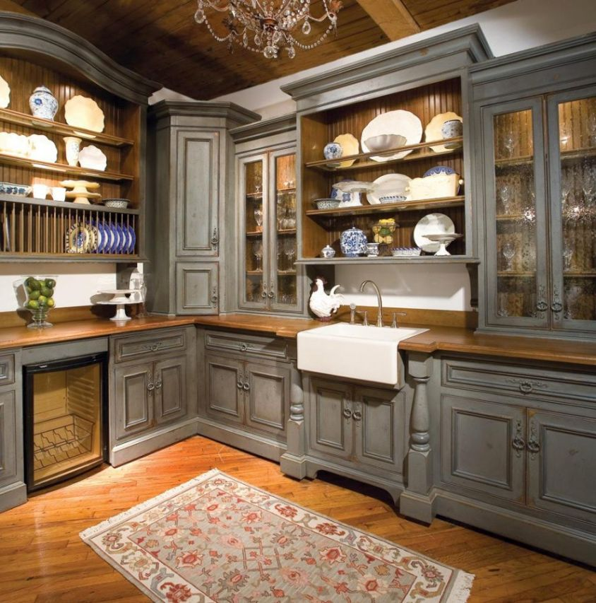 Vintage gray kitchen cabinets for Grey wood kitchen cabinets