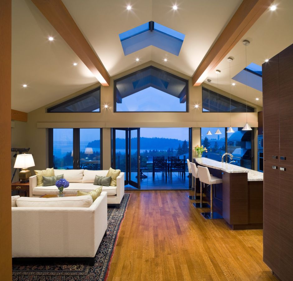 Admirable vaulted ceiling lighting ideas picture for - Interior design ceiling living room ...