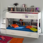 All White Modern Kids Loft Beds Design Featuring Built-in Drawers and Staircase