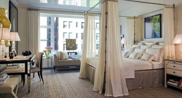 Beautiful canopy bed curtains designs in modern bedroom interior