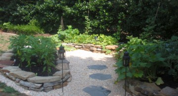Beautiful pathway gardening with rocks ideas