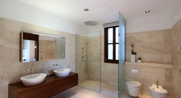 Clean and fabulous modern bathroom interior design with wooden furniture