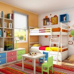 Colorful Modern Kids Loft Beds Design Built Along with Drawers Underneath