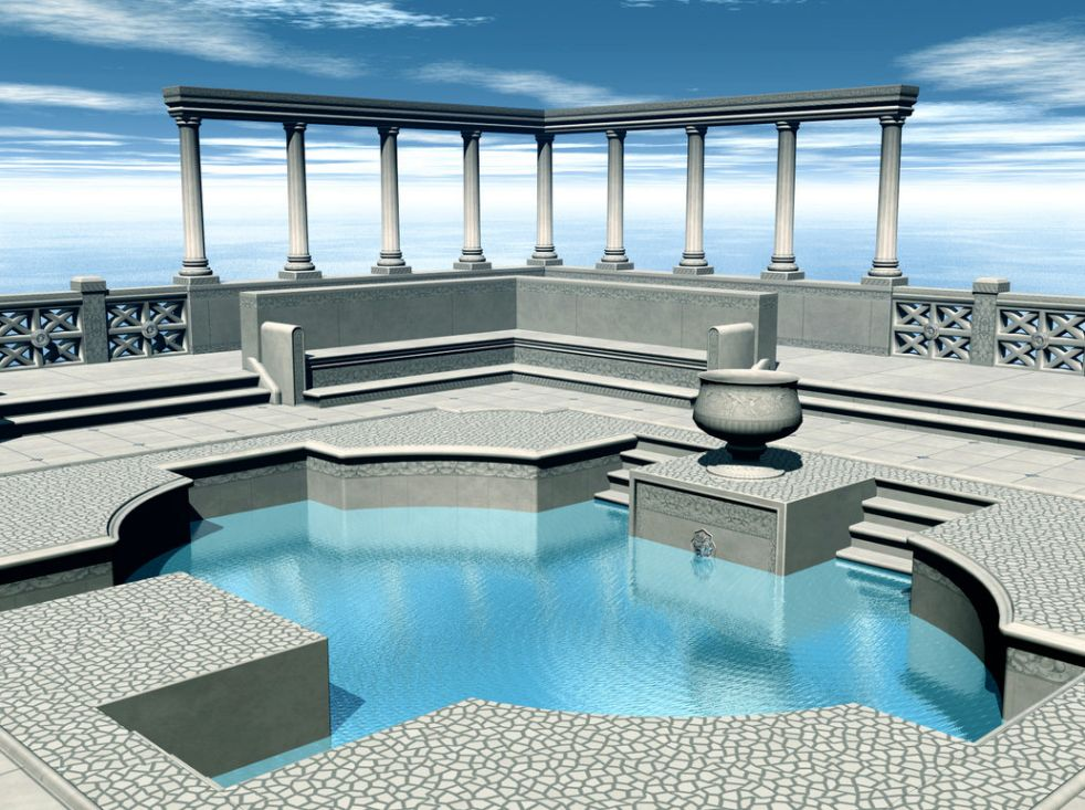 Concept image of grecian triple (3) tier floating swimming pool fountain