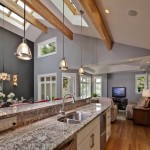 Contemporary decoration for vaulted ceiling kitchen lighting ideas with skylight