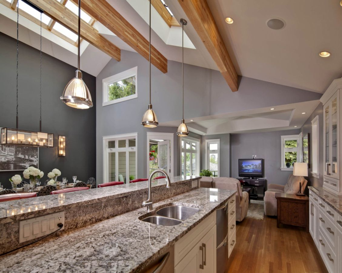 contemporary decoration for vaulted ceiling kitchen