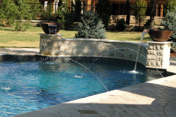 Elegant and traditional grecian pool fountain