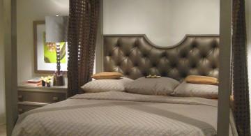 Elegant dark gray canopy bed in Exotic bedroom design