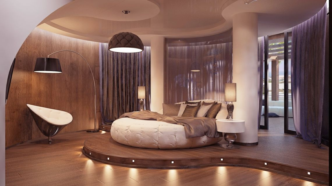 Exciting bedroom interior with unique round bed designs for Round bed design