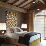 Exotic vaulted ceiling ideas for bedroom with dominant dark color scheme
