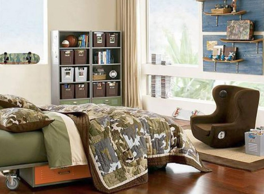 Fabulous Room Decor Ideas for Teenage Boys with Green Army Bed and Large Glass Window