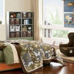 Fabulous RoomDecorIdeas forTeenage Boys with Green Army Bed and Large Glass Window