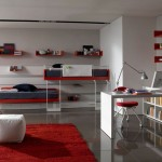 Fancy White Themed Teenage Bedroom With Mounted Red Shelving and Sleek White Desk