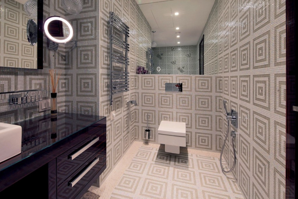 Geometric patterned tiles in beautiful modern bathroom interior
