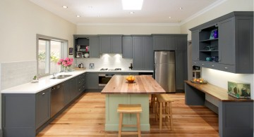 Gray Kitchen Cabinets With White Countertops for Large Modern Kitchen Design