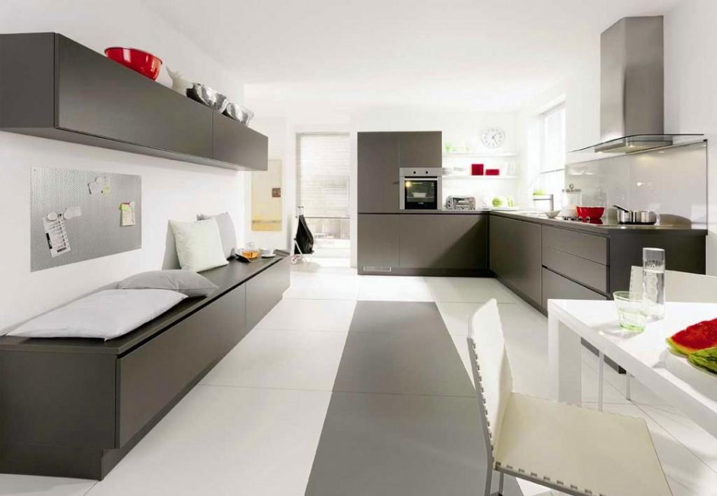 17 superb gray kitchen cabinet designs - Modern kitchen with white appliances ...