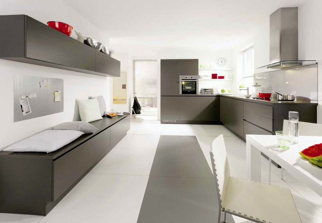 Gray kitchen cabinets with white appliances for modern kitchen interior design