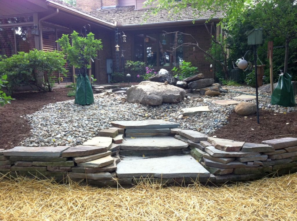 Great front garden gardening with rocks ideas
