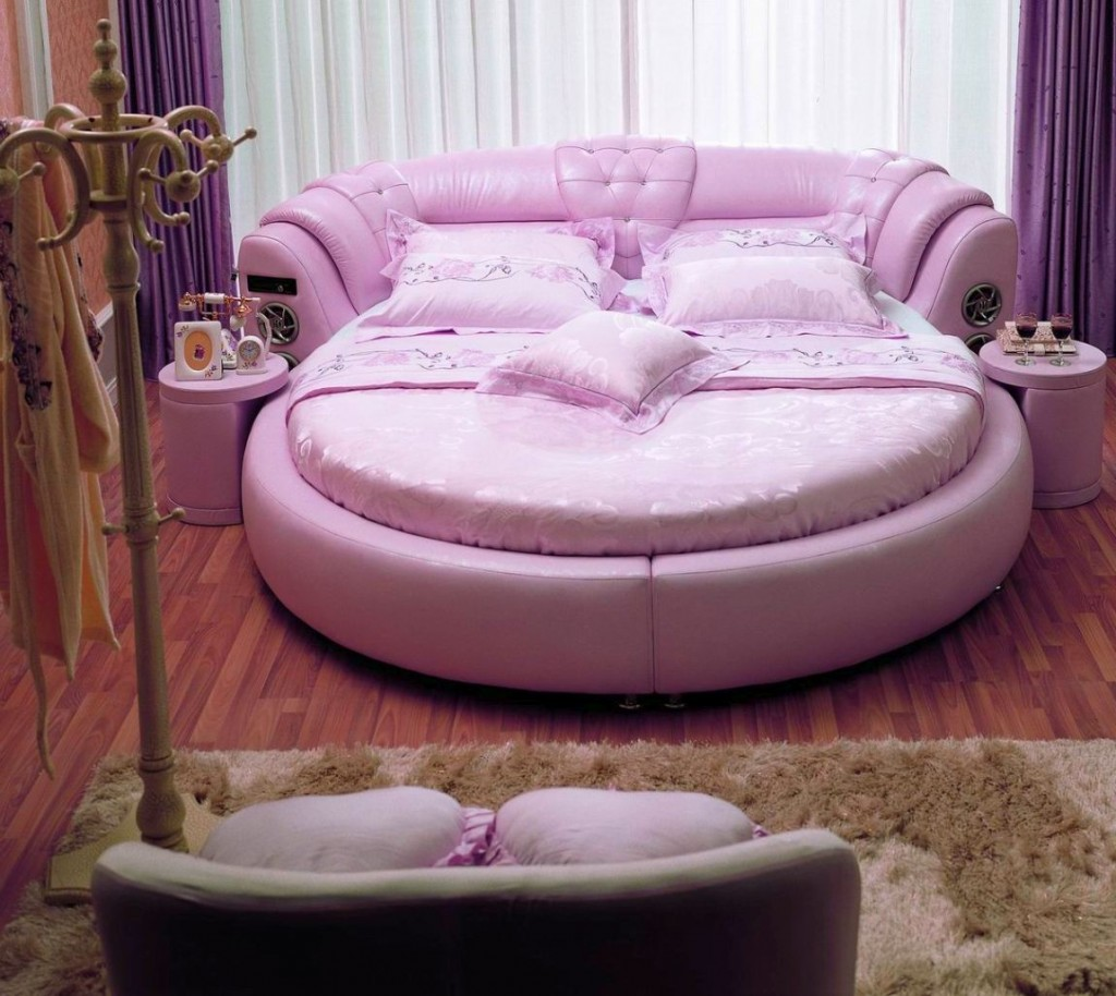 Inspirational modern bedroom design ideas with purple round bed