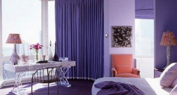 Interesting Luxury Bedroom with Purple Color Design Ideas