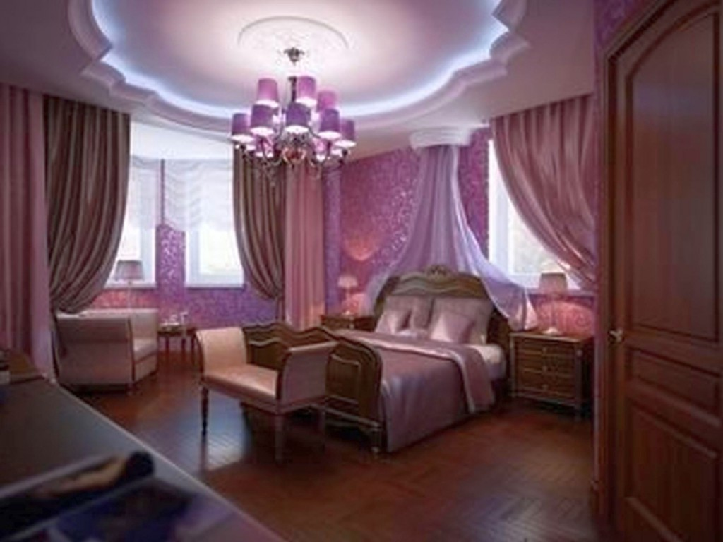 Superbe Inviting Luxury Bedroom With Dark Purple Color