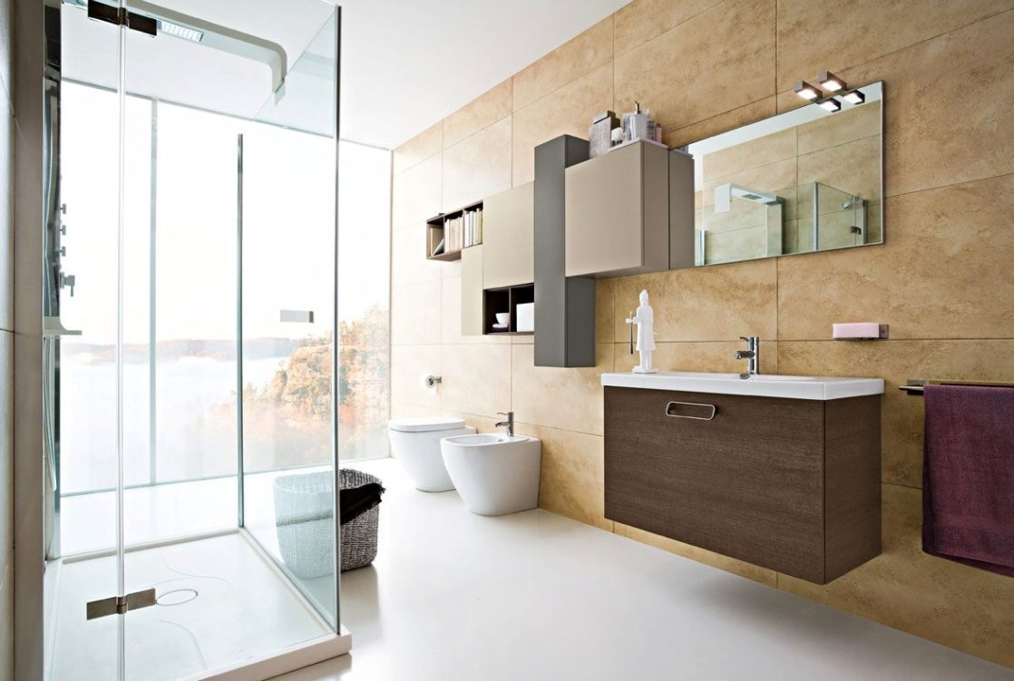 Inviting Modern Bathroom Interior Design With Brown Furniture