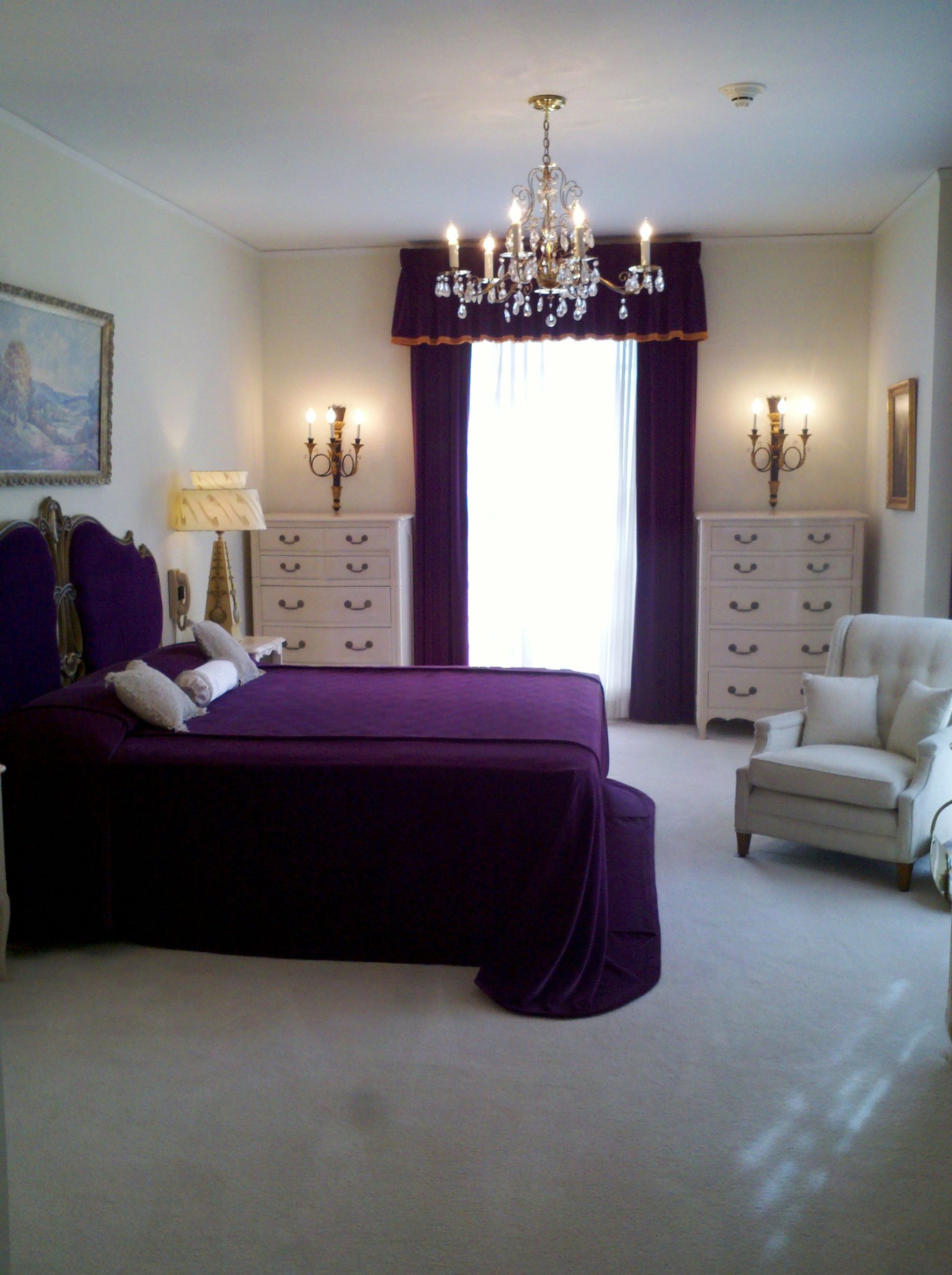 Luxurious Master Classic Bedroom With Purple Color Scheme