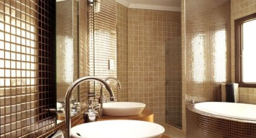 Luxurious modern bathroom interior design with classic atmosphere