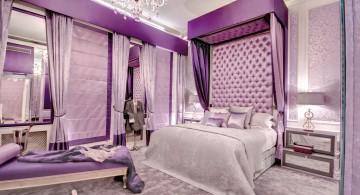 Luxurious purple bedroom interior design decorating ideas