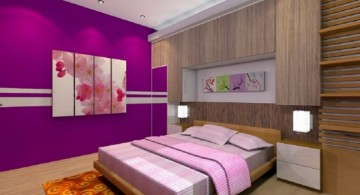 Luxury Bedroom with Purple Color with wooden floor and wall