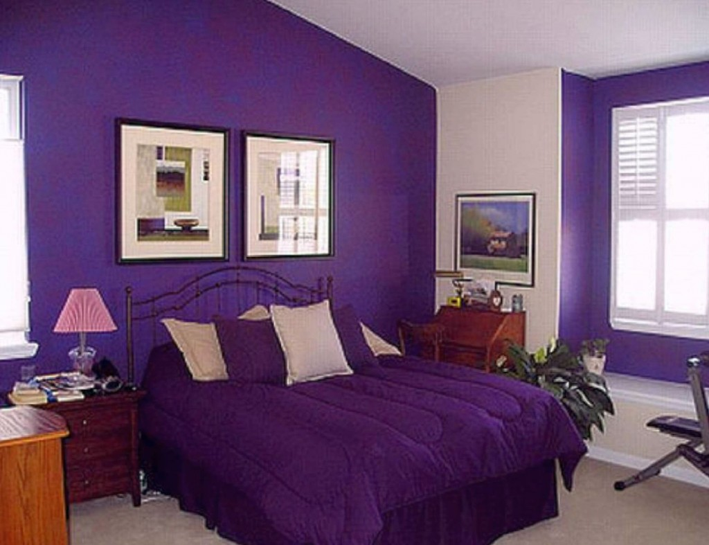 Dark purple bedroom colors - Awesome Modern Bedroom With Purple Color Interior
