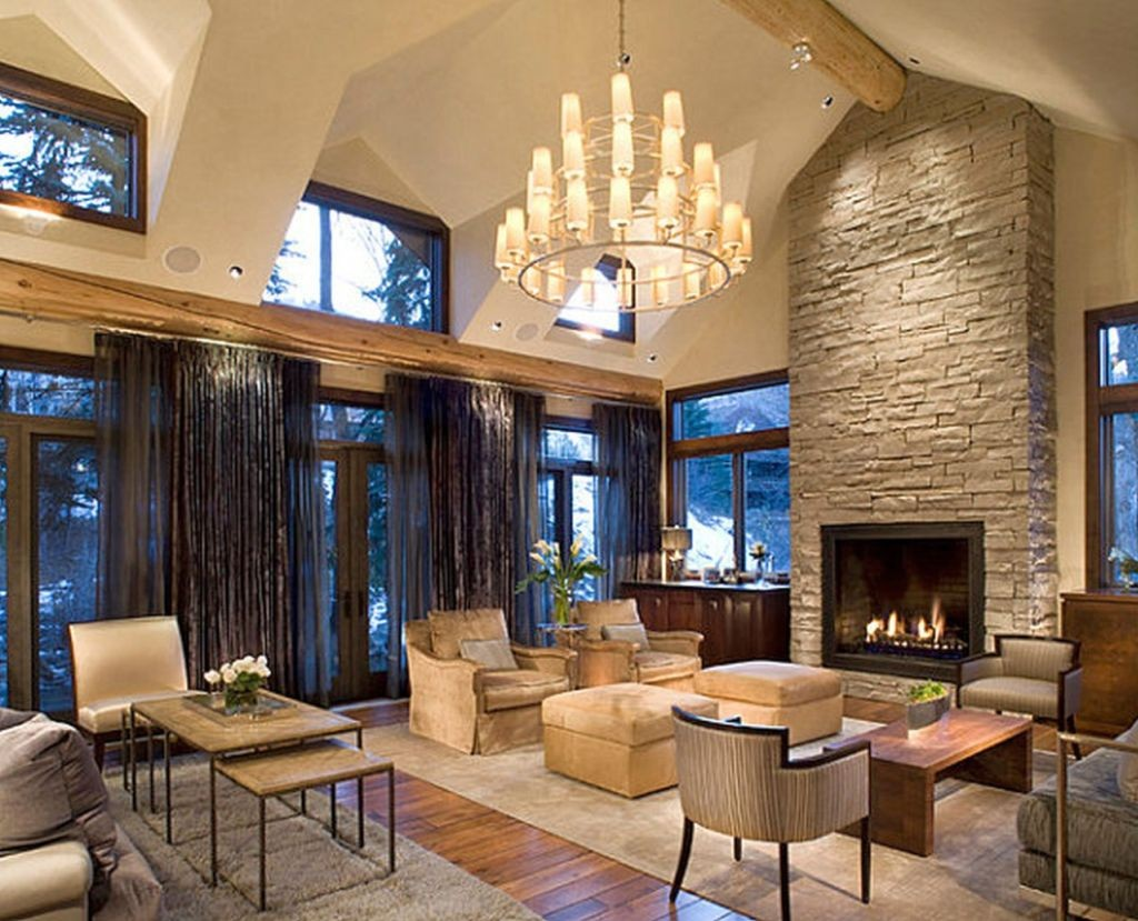 Mediterranean Home Decor With High Ceiling And Fireplace