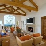 Mediterranean Home Decor with modern chairs and plasma tv