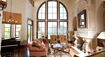 Mediterranean Home Decor with tall windows