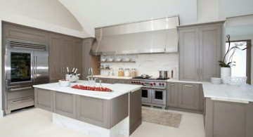 Minimalist Gray Kitchen Cabinets with White Countertop