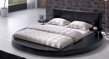 Modern Contemporary Leather Round Bed with Black Platform