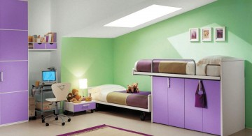 Modern Purple Kids Loft Beds Design for Space Saving Ideas