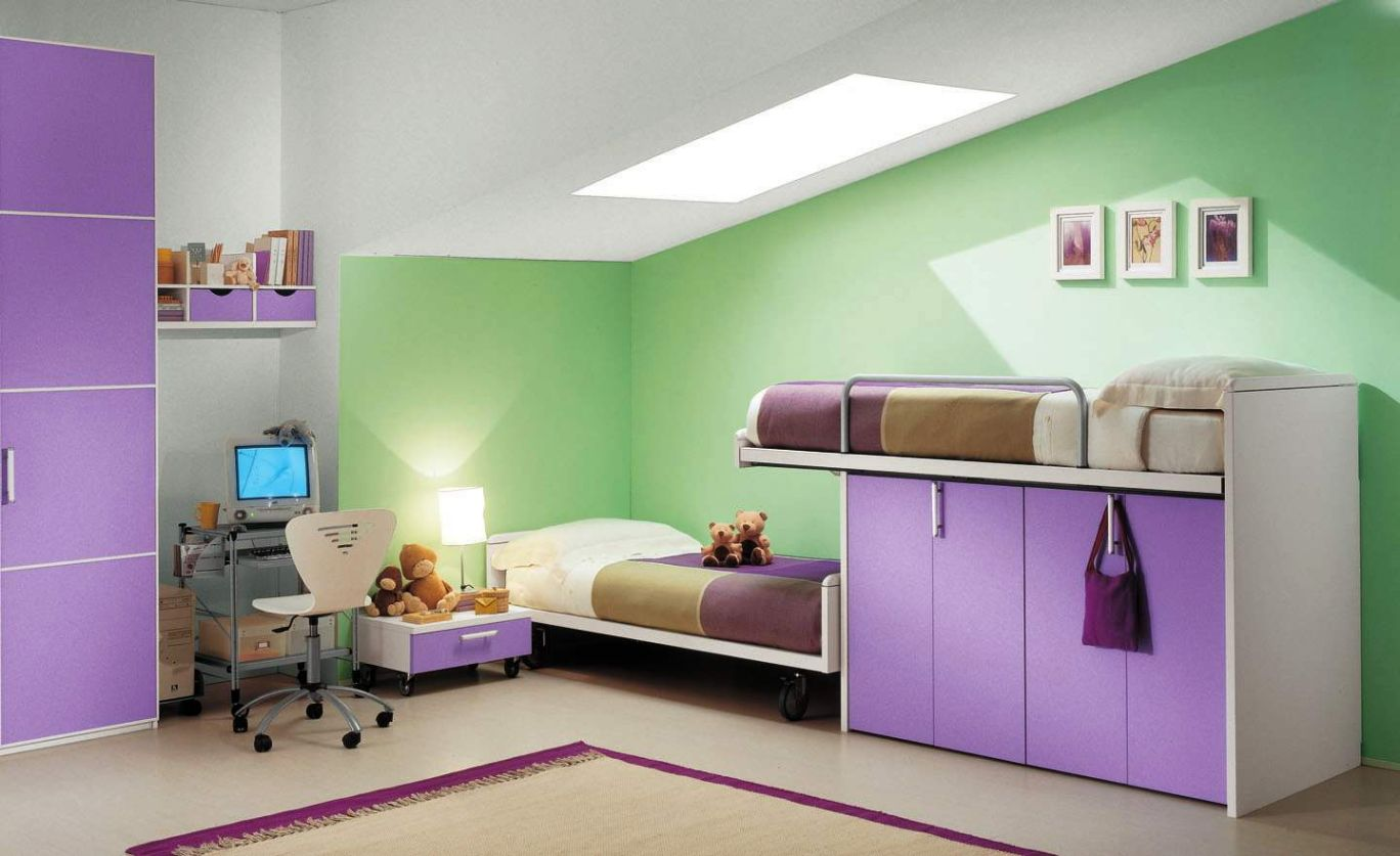 Modern purple kids loft beds design for space saving ideas for Modern loft bedroom