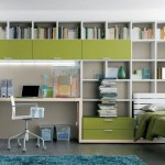 Modern home office in one bedroom apartment design with green color scheme and dark flooring