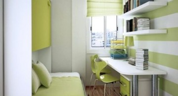 Neat green home office in very small bedroom design ideas