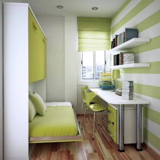 Neat green home office in very small bedroom design ideas for Bedroom ideas for narrow rooms
