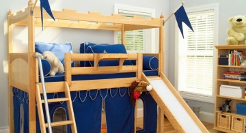 Playful Modern Kids Loft Beds with Wooden Bunk and Built-in Slide on