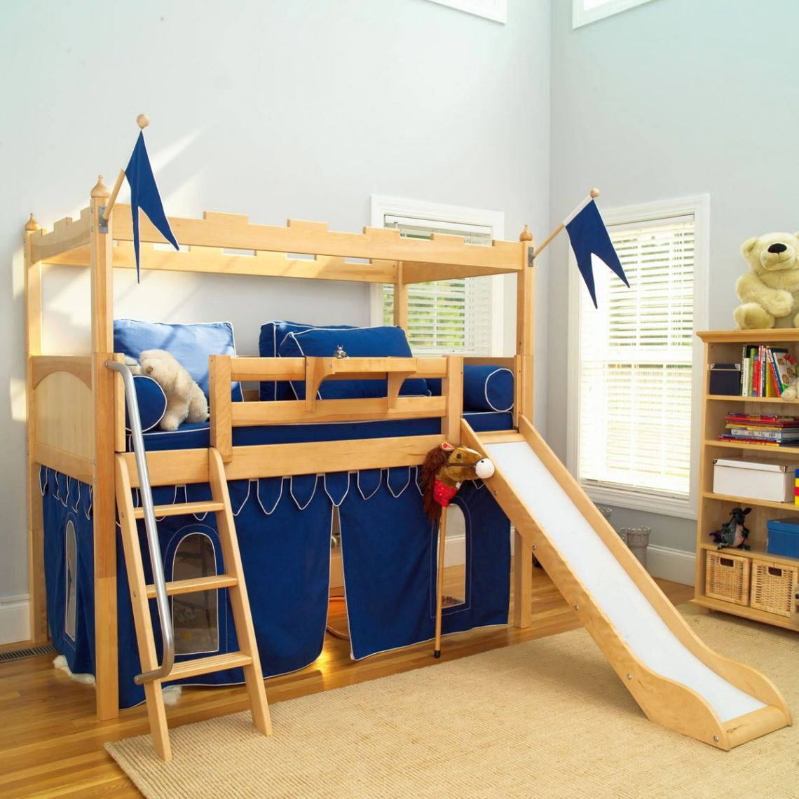 Playful Modern Kids Loft Beds With Wooden Bunk And Built In Slide On