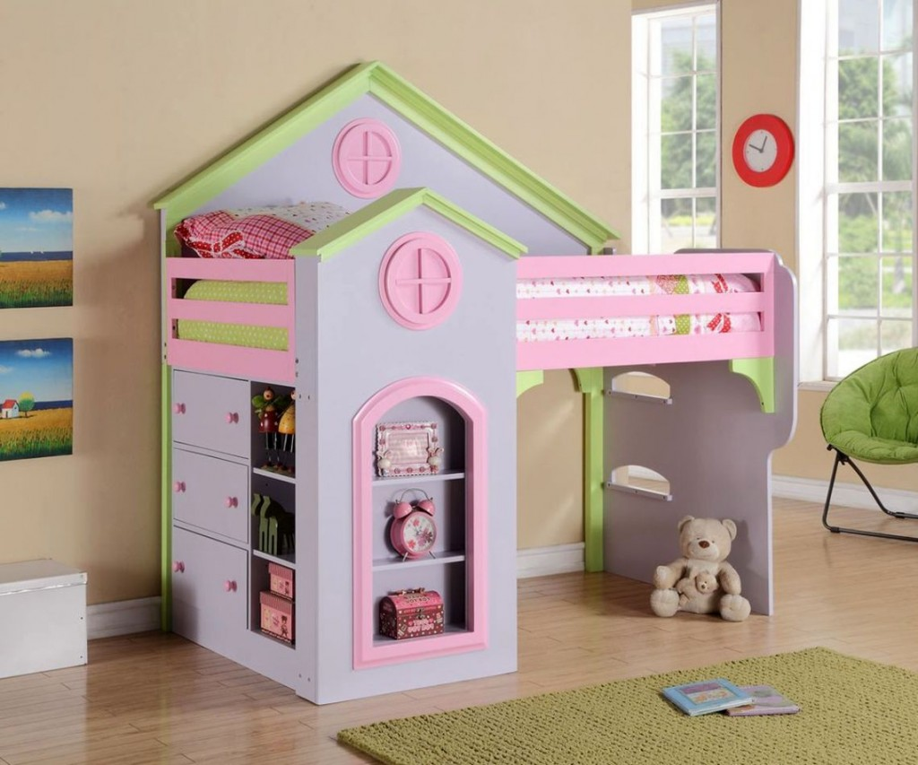Princess-Inspired Modern Kids Loft Beds Design for Little Girls
