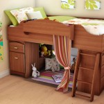 Simple Modern Kids Loft Beds Design with Lounge Area Enclosed by Colorful Courtain