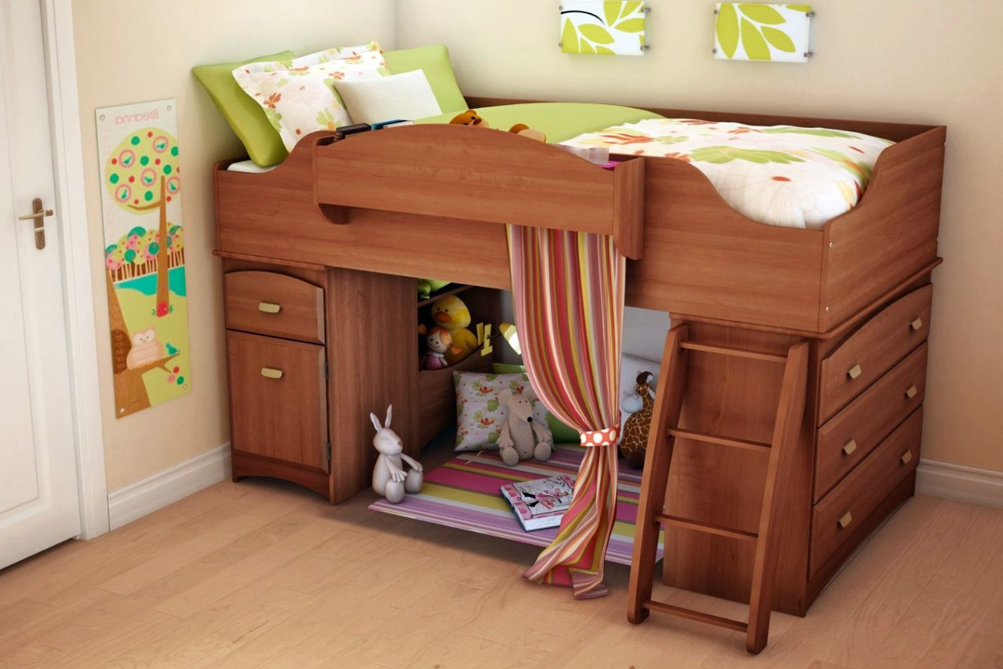 14 adorable modern loft beds design ideas for your kids for Futon kids room