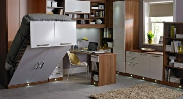 Smart home office in bedroom design with bed that functions as shelf too