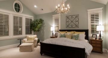 Smart vaulted bedroom ceiling lighting ideas with classy chandelier