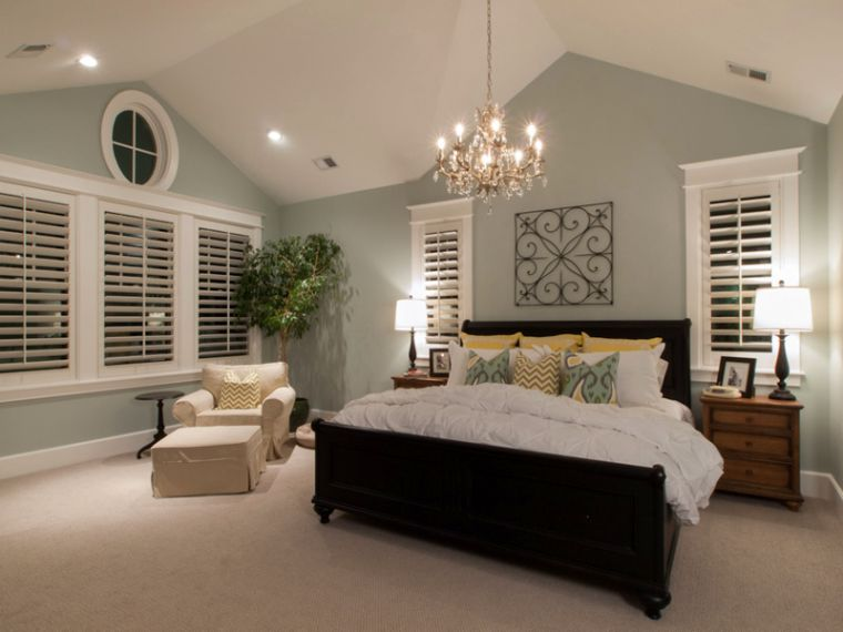smart vaulted bedroom ceiling lighting ideas with classy chandelier
